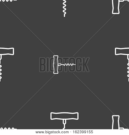 Corkscrew Icon Sign. Seamless Pattern On A Gray Background. Vector