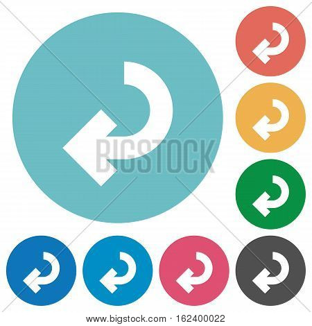 Return arrow flat white icons on round color backgrounds