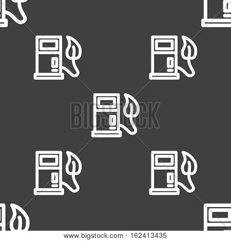 Gas Station With Leaves Icon Sign. Seamless Pattern On A Gray Background. Vector