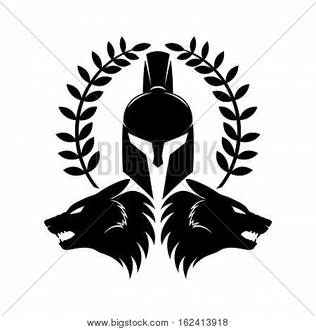 Spartan helmet and wolf heads on a white background.