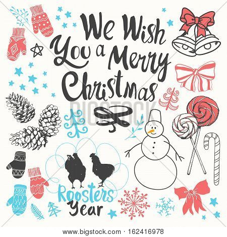 Christmas vector illustration set in sketch style on white background. Beautiful new year funny symbols: pine branch, Santa's cap, snowman, cone, snowflakes, candy balls and holiday lettering.