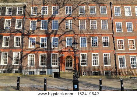 LONDON, UK - MARCH 9, 2014: External view of  legal chambers in Kings Bench walk