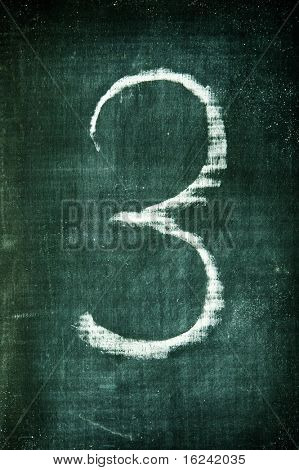 number written with a chalk on a blackboard
