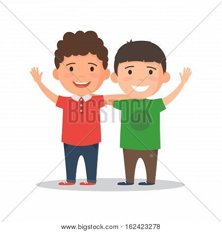 Two boys smiling, hugging and waving their hands. Happy kids best friends. Vector illustration in cartoon style isolated on white background