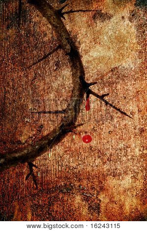 vintage background of the Jesus crown of thorns with blood