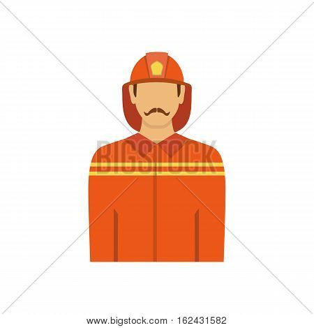 Illustration of fireman isolated on white background in flat style. Man from fire brigade in form of fireman.Profession vector avatar icon.