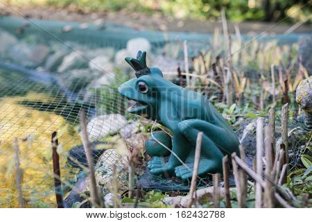 Close up view of frog garden statue wearing crown placed on rock mound with green netting