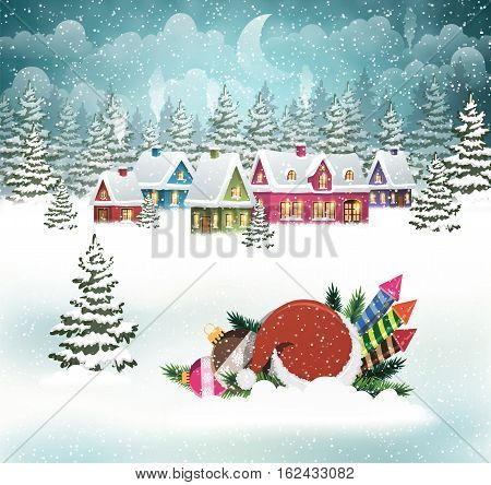 Evening city winter landscape with snow-covered houses and Santa hat with Christmas decorations on the foreground. Christmas holidays vector illustration