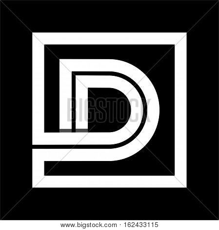 Capital letter D From white stripe enclosed in a square . Overlapping with shadows monogram, logo, emblem. Trendy design.