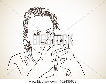 Sketch of teenage girl using smart phone, Hand drawn vector illustration