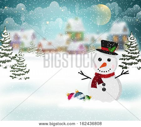 Winter village background with snow-covered houses and snowman in the foreground