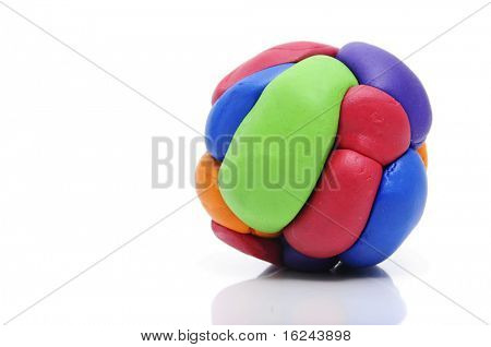 a modelling clay ball of different colors isolated on a white background