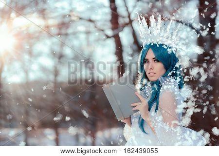 Snow Queen Reading Spell Book in Winter Fantasy