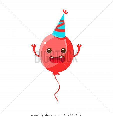 Balloon Wearing Party Hat, Happy Birthday And Celebration Party Symbol Cartoon Character. Colorful Humanized Birthday Party Associated Element With Arms And Legs.