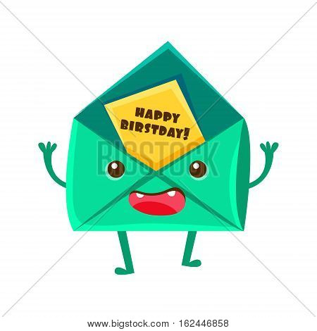 Envelop With Greeting Postcard, Happy Birthday And Celebration Party Symbol Cartoon Character. Colorful Humanized Birthday Party Associated Element With Arms And Legs.