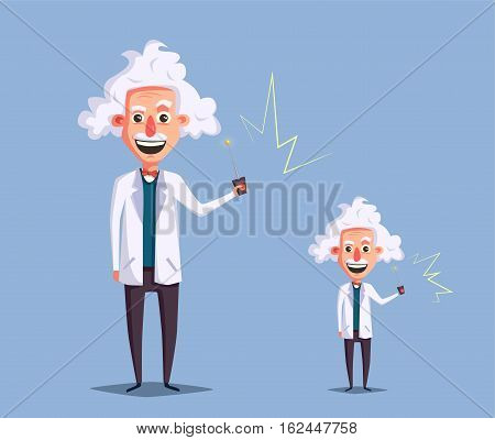 Crazy old scientist. Funny character. Cartoon vector illustration. Mad professor. Science experiment. Remote controller. Big and little man. Human reduction