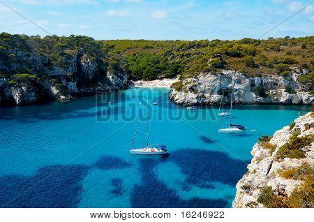 view of Macarelleta beach in Menorca, Balearic Islands, Spain