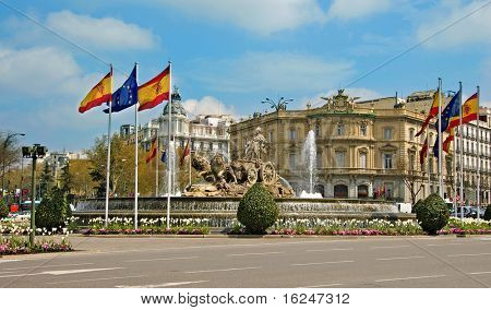 a view of Cibeles Fountain, in Madrid, Spain
