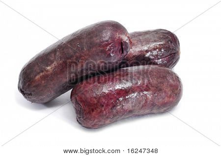 a pile of morcillas, typical Spanish sausage, on a white background