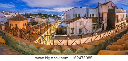 Super wide angle fish eye view of Rooftops of Madrid city.   Terraces some with small garden boxes can be seen on the top floors of apartment buildings.  Rooftop with an partial view to the alley below.