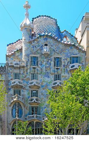 BARCELONA, SPAIN - MAY 23: Casa Batllo on May 23, 2010 in Barcelona, Spain. The famous building was designed by Antoni Gaudi.
