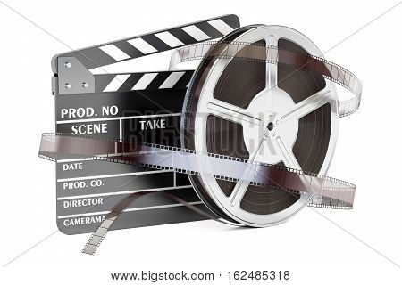 Cinema and cinematography concept. Clapperboard with film reels 3D rendering isolated on white background