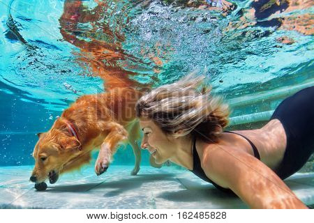 Underwater action. Smiley woman plays with training golden retriever puppy in swimming pool - jump and dive. Active water games with family pet popular dog breed like companion on summer vacation
