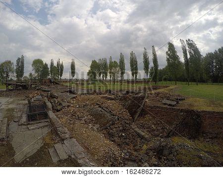 Destroyed Gas chamber at concentration camp Auschwitz Birkenau KZ Poland