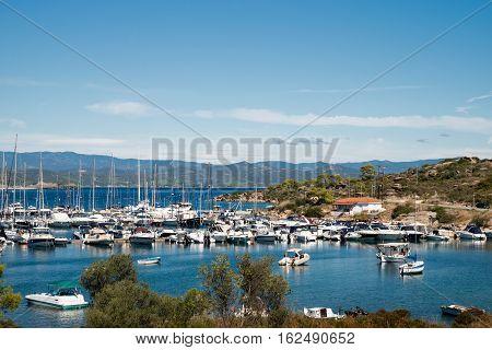 View of Porto Carras marina Sithonia Chalkidiki peninsula in Greece