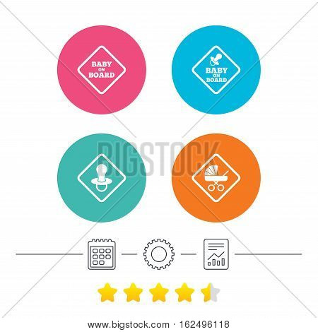 Baby on board icons. Infant caution signs. Child buggy carriage symbol. Calendar, cogwheel and report linear icons. Star vote ranking. Vector