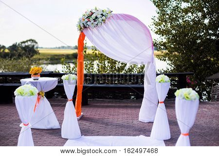 white wedding arch wedding ceremony marriage registration wedding decorations