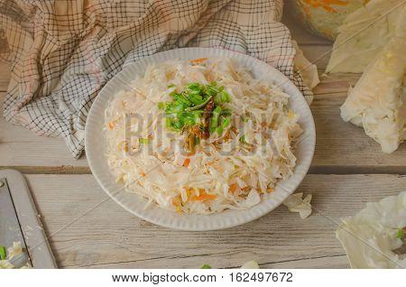 Sauerkraut In Ceramic Bowl.