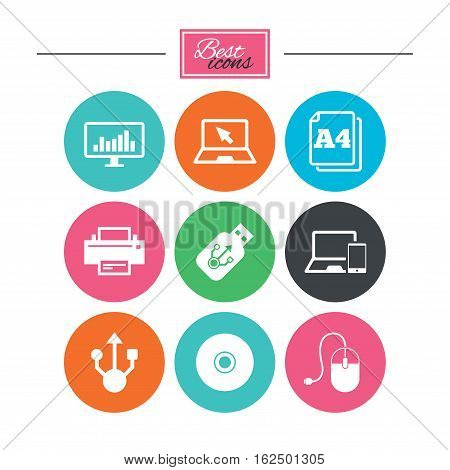 Computer devices icons. Printer, laptop signs. Smartphone, monitor and usb symbols. Colorful flat buttons with icons. Vector