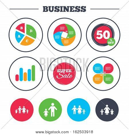 Business pie chart. Growth graph. Family with two children icon. Parents and kids symbols. One-parent family signs. Mother and father divorce. Super sale and discount buttons. Vector