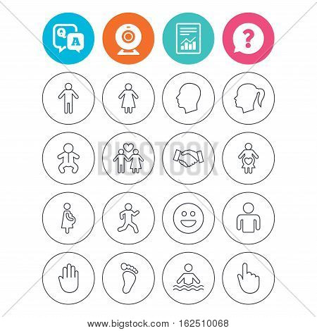 Human icons. Male and female symbols. Infant toddler and pregnant woman. Happy smile face. Success deal handshake. Report document, question and answer icons. Web camera sign. Vector