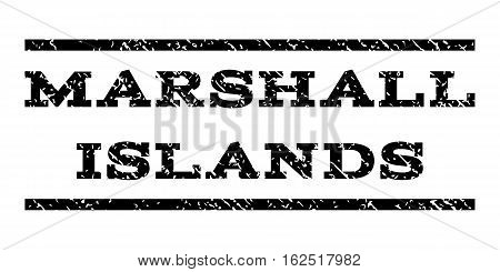 Marshall Islands watermark stamp. Text tag between horizontal parallel lines with grunge design style. Rubber seal stamp with scratched texture. Vector black color ink imprint on a white background.