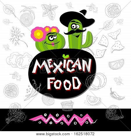 Set of stickers in sketch style, food and spices. Fast food. Mexican food logo. Ingredients nachos cactus flower, hat, guacamole, tomato, pepper, onion, salad, red