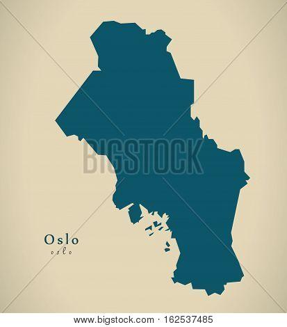 Modern Map - Oslo Norway No Illustration