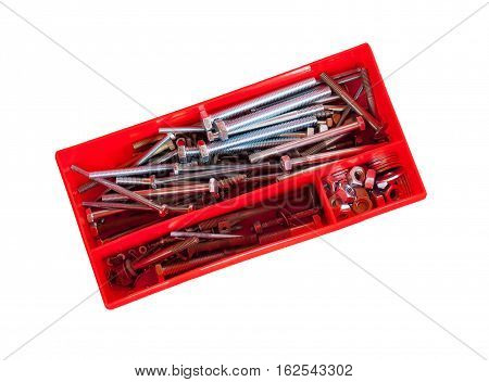 Screws and bolts in box isolated on white background