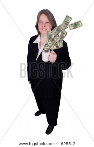 Businesswoman With Coffee Cup And Money