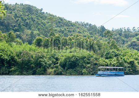 Boating on Misty Lake in Munnar Anachal road 10 October 2016 Kerala Idukki district India