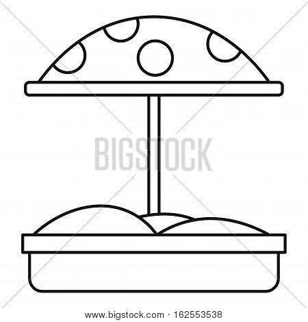 Sandbox with umbrella icon. Outline illustration of sandbox with umbrella vector icon for web