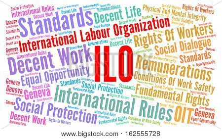 ILO word cloud concept with awhite background