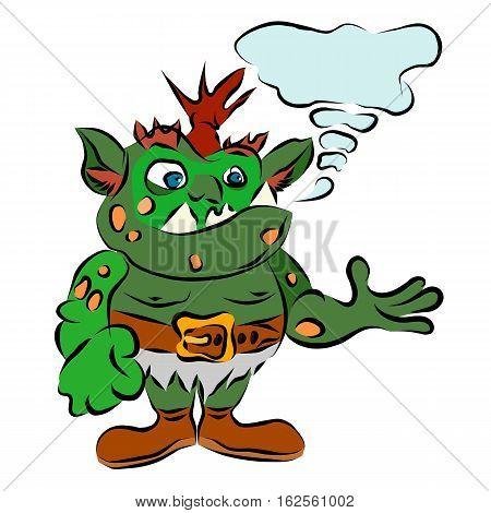 funny green troll vector goblin cartoon illustration