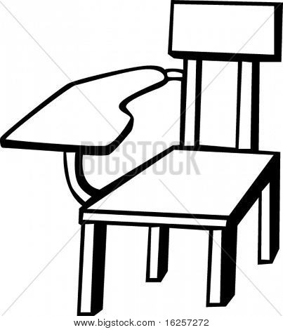 wooden school chair black and white vector illustration
