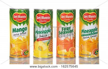 Alameda CA - December 20 2016: 8.1 fluid ounce cans of Del Monte brand fruit juices. Del Monte was created in 1886 and is located in San Francisco CA.