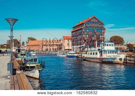 Lithuania, Klaipeda - July 20, 2016: Ships And Boats On Dane River In Oldtown  Of Klaipeda. Lithuani