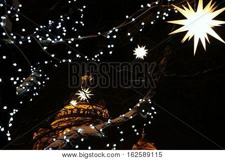 St. Isaac's Cathedral and Christmas lights in the night