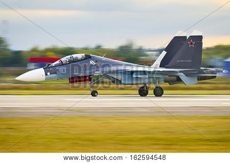 Zhukovskiy,Moscow Region, Russia - August 27,2015: Su-30SM during the landing roll-out.