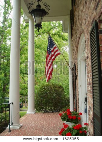 Colonnade With American Flag
